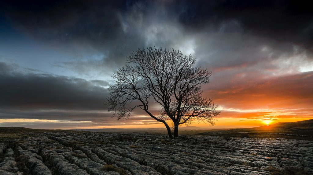 Sunset on the top of Malham Cove