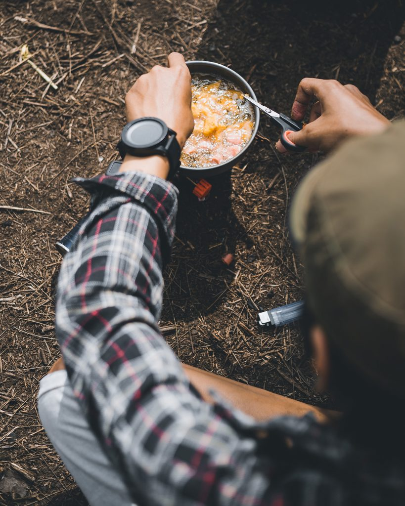 Frying items on a camping stove