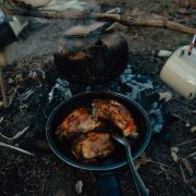 Meat is easy to fry on a camping stove