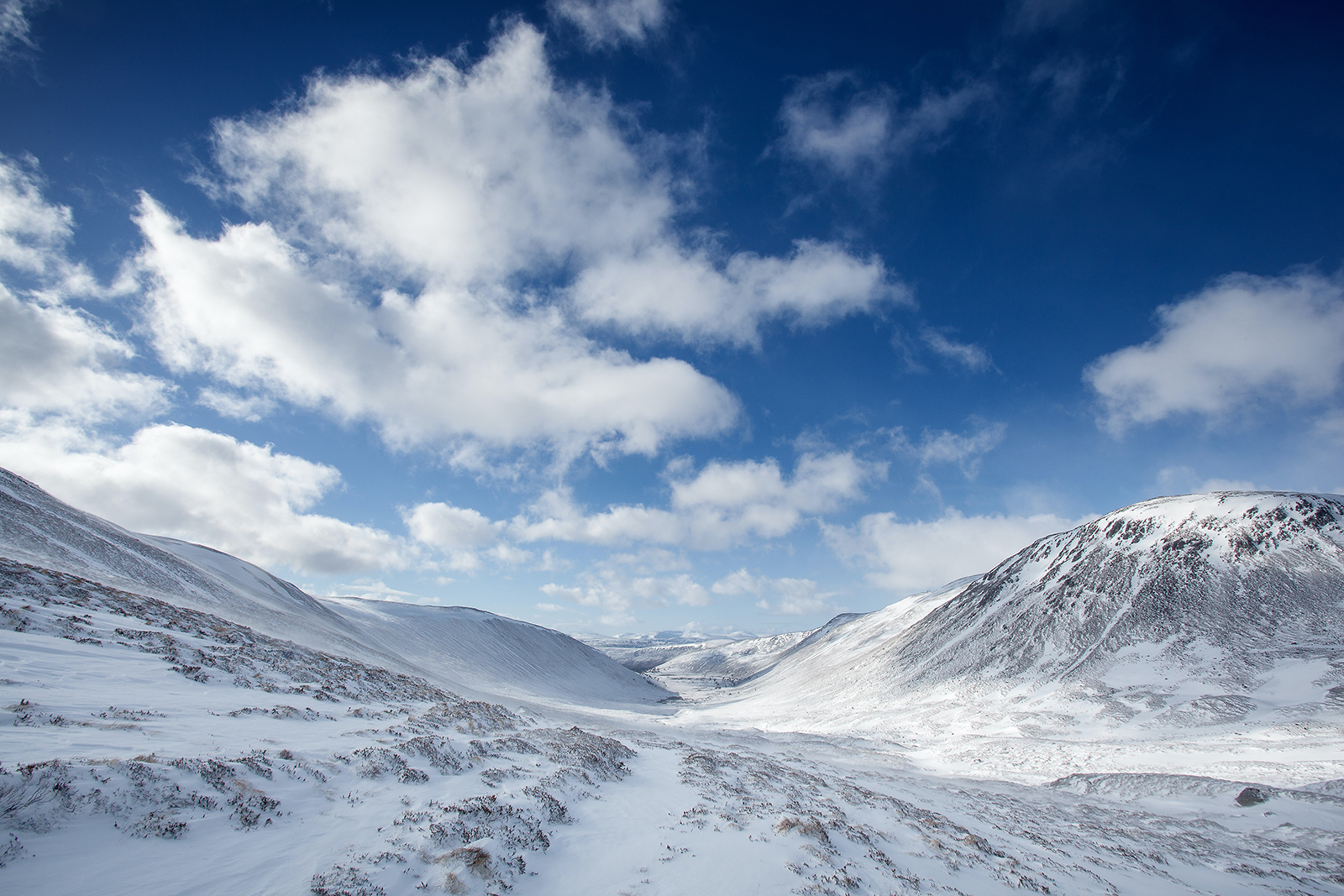 The snowy landscapes of the Cairngorms