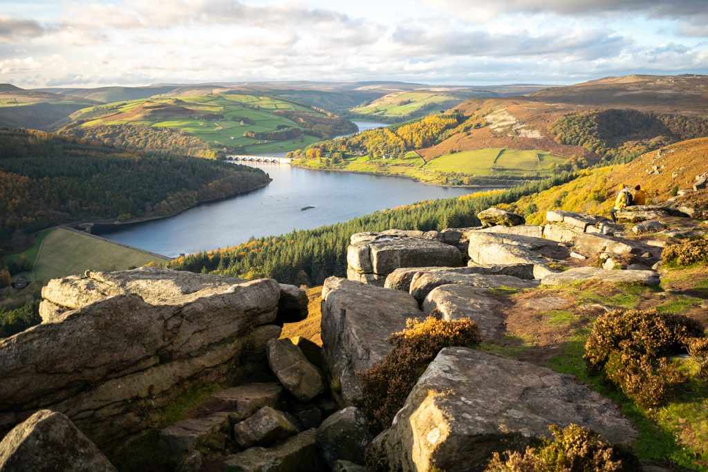 Looking down at Ladybower Reservoir from Bamford Edge