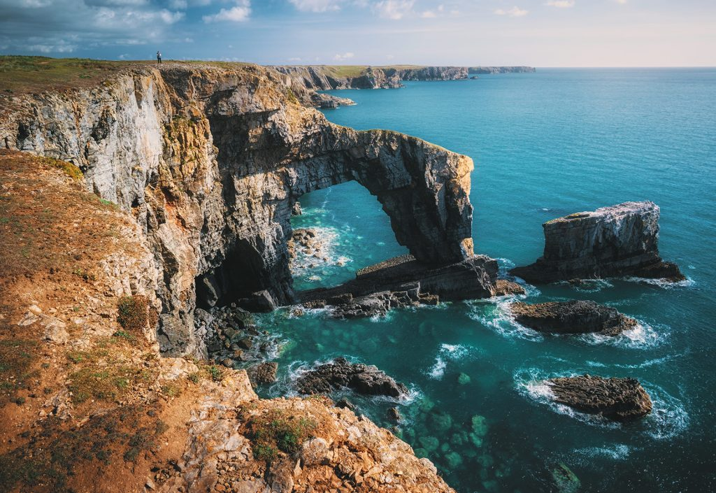 Beautiful natural arches on the Pembrokeshire coast