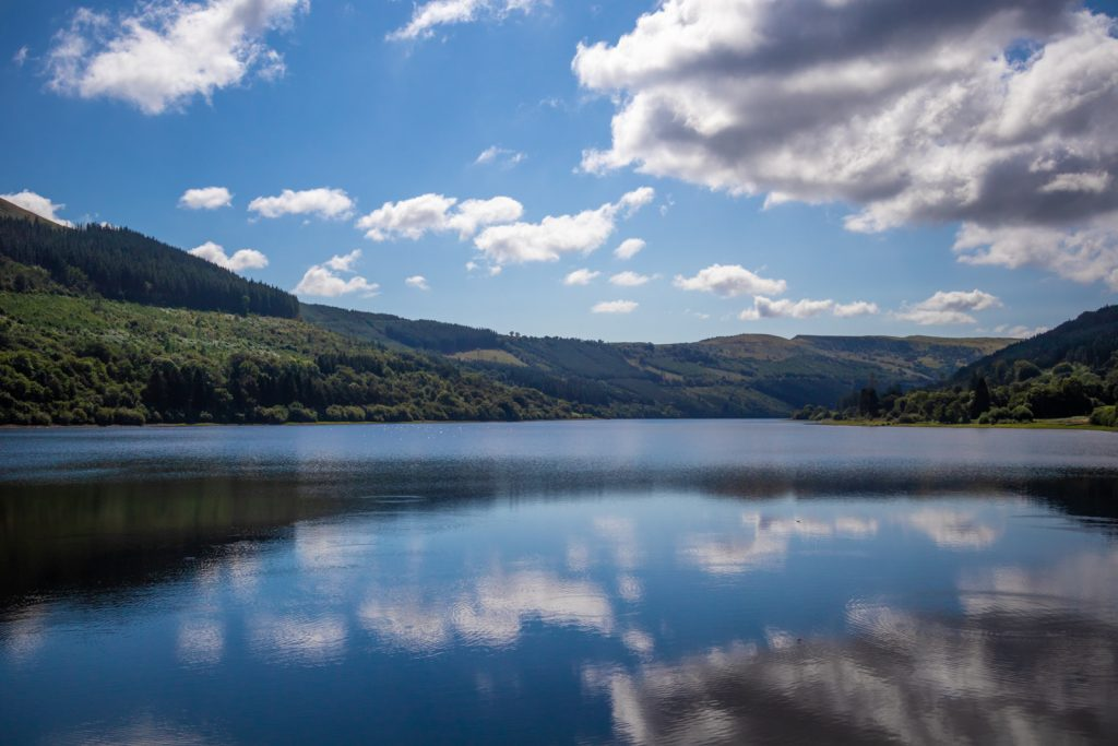 The picturesque waters of Talybont Reservoir