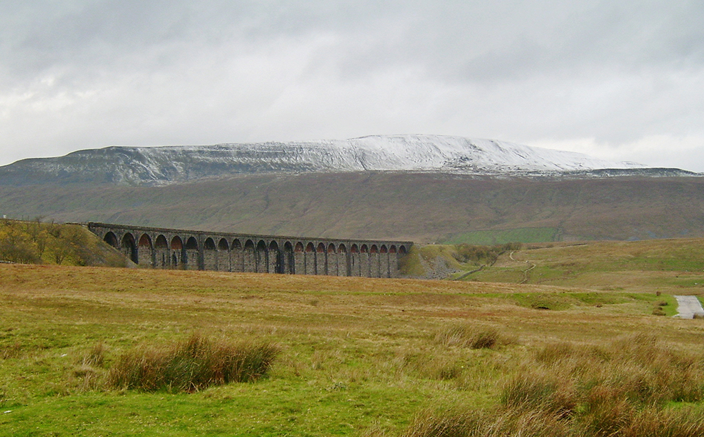 Pen-y-Ghent with Ribblehead Viaduct in the foreground