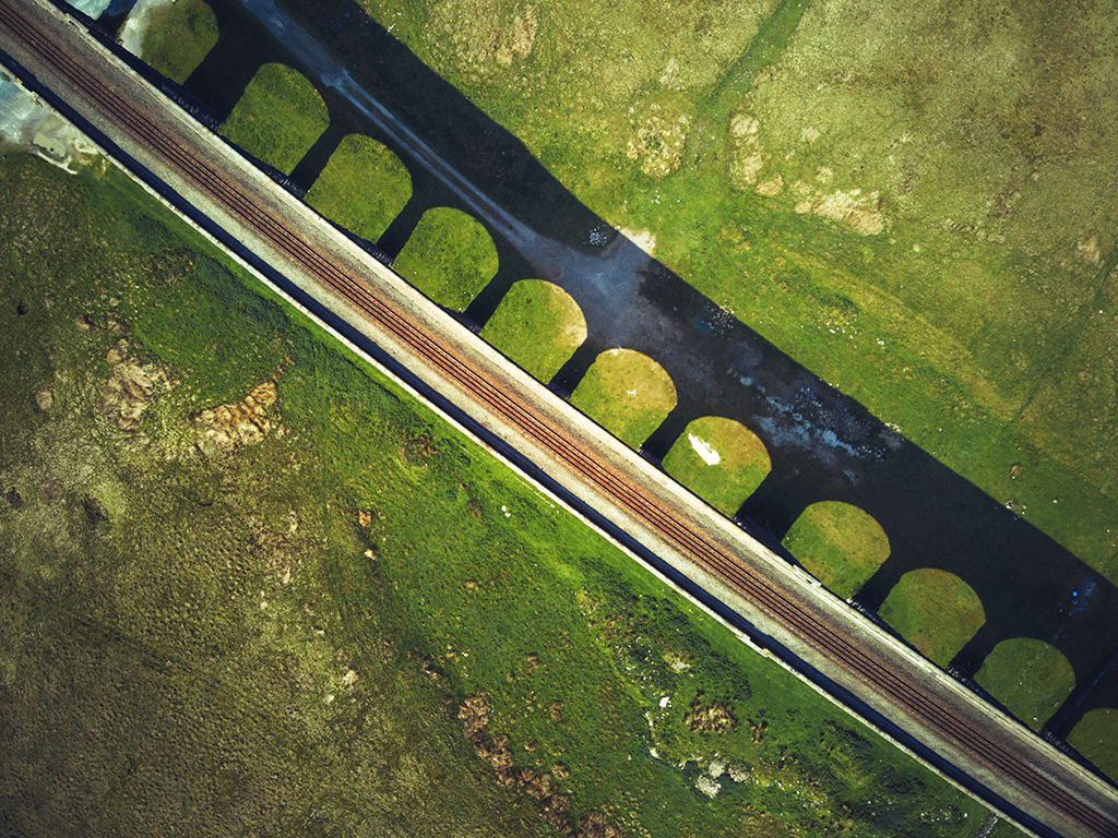 An aerial view of Ribblehead Viaduct
